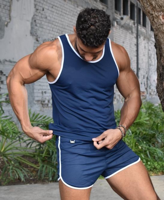 Conjunto fitness dry fit marinho e branco