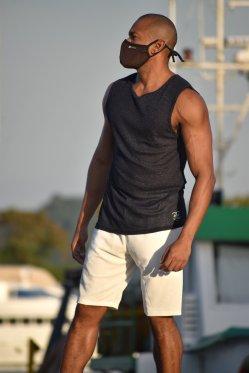 Camisa sem manga metalizada marinho
