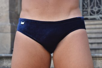 Sunga cavada SLIM blue velvet