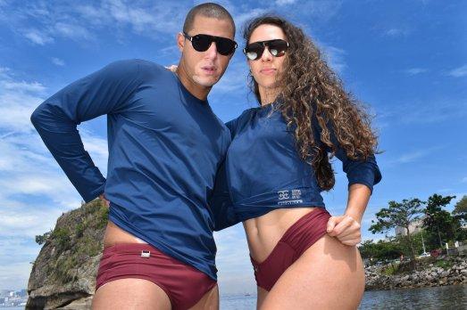 Camisas UV block azul marinho gênero neutro
